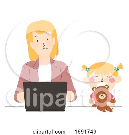 Kid Girl Mom Parent Tantrum Play Illustration by BNP Design Studio