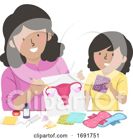 Kid Girl Mom Teach Teen Period Illustration by BNP Design Studio