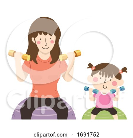 Kid Girl Mom Dumbbells Exercise Ball Illustration by BNP Design Studio