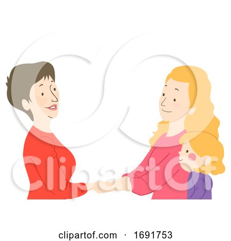 Kid Girl Teacher Parent Handshake Illustration Posters, Art Prints