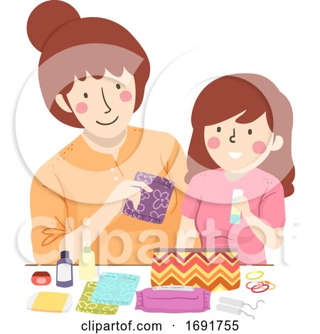 Mom Kid Teen Preparing Period Kit Illustration by BNP Design Studio