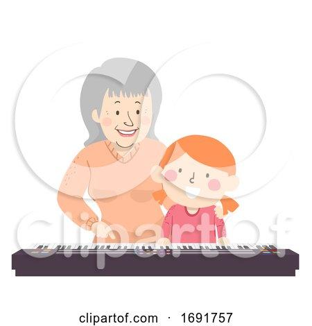 Senior Grandma Kid Girl Piano Lesson Illustration by BNP Design Studio