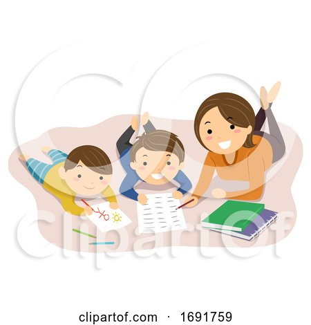 Stickman Kids Mom Home School Read Illustration by BNP Design Studio