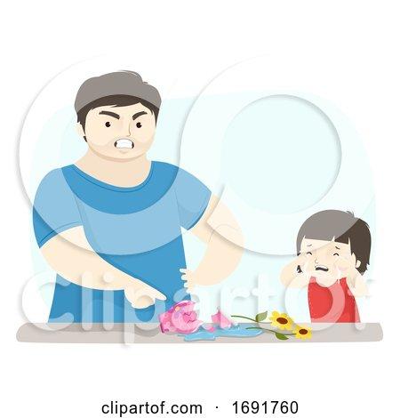 Kid Girl Dad Man Angry Break Vase Illustration by BNP Design Studio