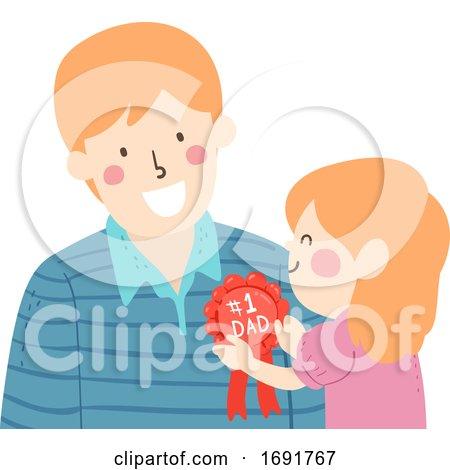 Kid Girl Man Dad Rosette Ribbon Award Illustration by BNP Design Studio