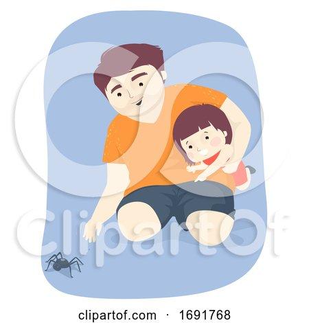 Kid Girl Dad Man Spider Illustration by BNP Design Studio