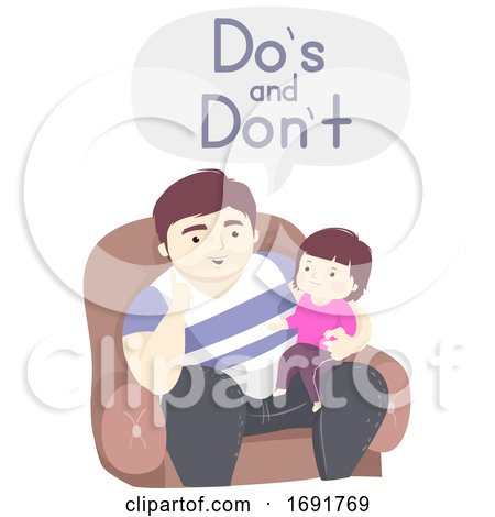 Kid Girl Man Dad Tell Dos Dont Illustration by BNP Design Studio