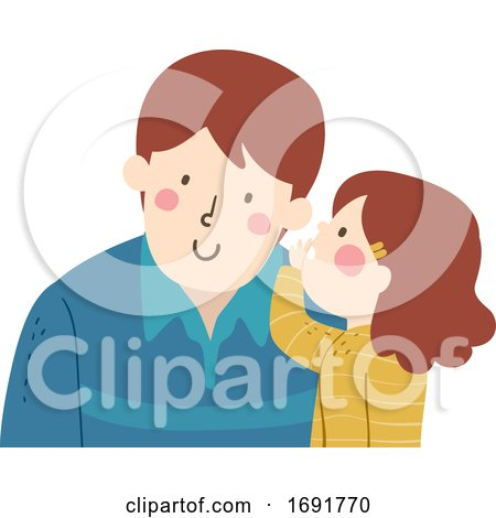 Kid Girl Dad Man Whisper Illustration by BNP Design Studio