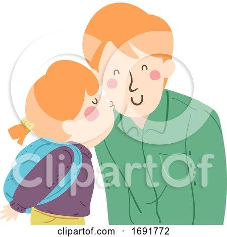 Kid Girl Kiss Man Dad Cheek Illustration by BNP Design Studio