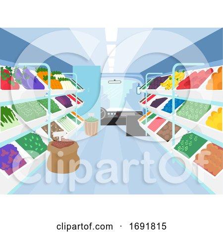 Mobile Market Interior Vegetables Illustration by BNP Design Studio
