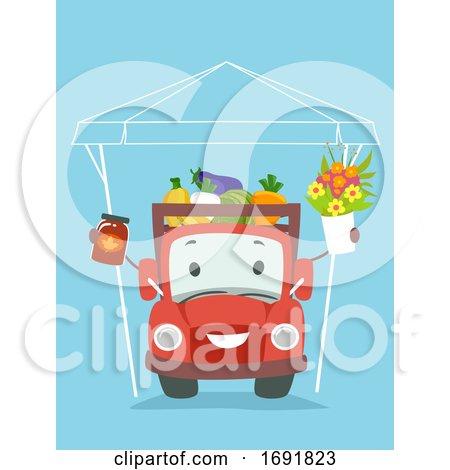 Truck Mascot Sell Fresh Farm Products Illustration by BNP Design Studio