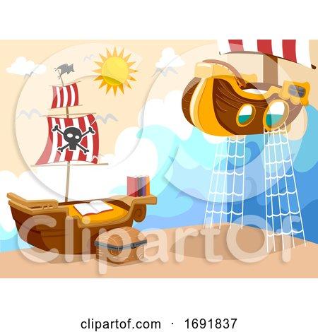 Kids Bedroom Pirate Theme Illustration by BNP Design Studio