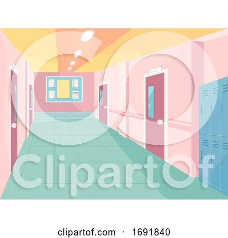 School Corridor Illustration by BNP Design Studio