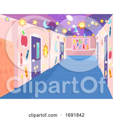 School Corridor Decorated Illustration by BNP Design Studio