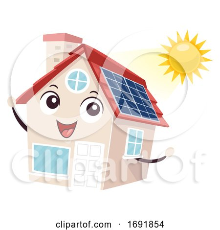 Mascot House Solar Panel Illustration by BNP Design Studio