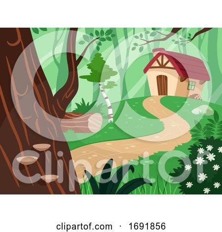 House Forest Path Illustration by BNP Design Studio