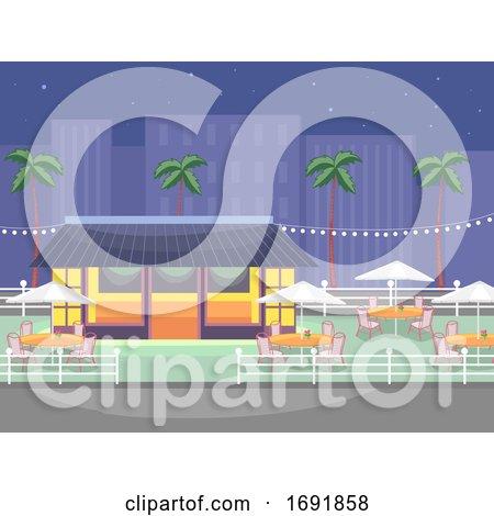 Outdoor Restaurant Scene Illustration by BNP Design Studio