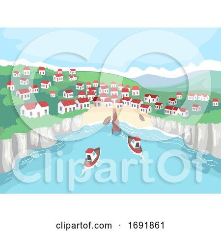 Seaside Village Scene Boat Illustration by BNP Design Studio