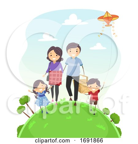 Stickman Family Walk Picnic Illustration by BNP Design Studio