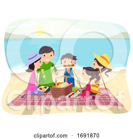 Stickman Family Beach Picnic Illustration by BNP Design ...