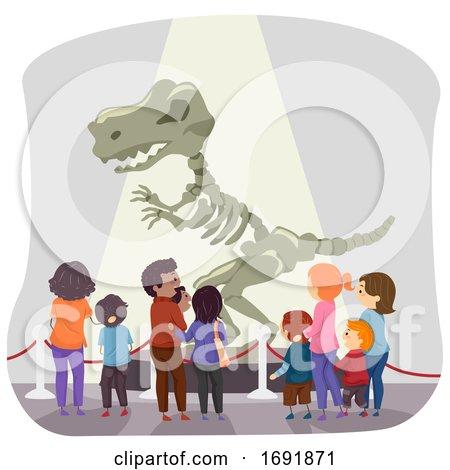 Stickman Family Dinosaur Museum Illustration by BNP Design Studio