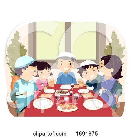Family Jewish Passover Dinner Illustration by BNP Design Studio
