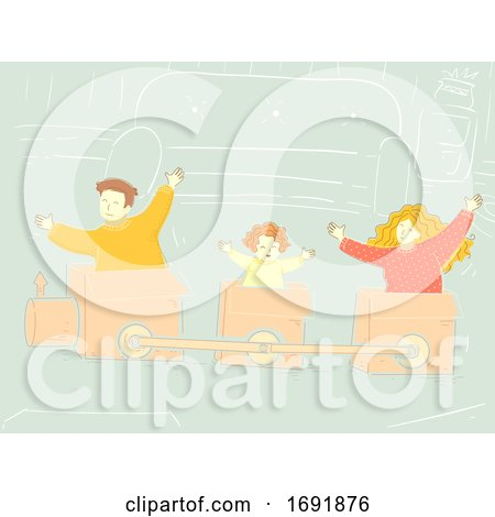 Family Play Box Train Illustration by BNP Design Studio