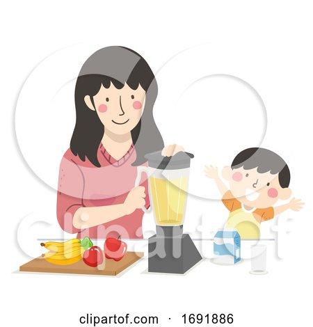 Kid Boy Mom Fruit Smoothie Illustration by BNP Design Studio