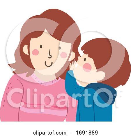 Kid Boy Mom Whisper Illustration by BNP Design Studio