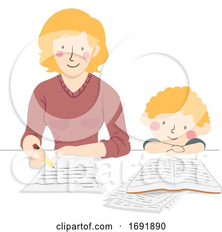 Kid Boy Mother Make Homework Illustration by BNP Design Studio