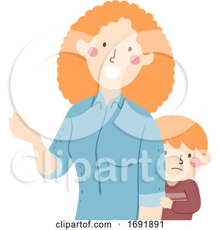 Kid Boy Timid Parent Mom Talking Illustration by BNP Design Studio