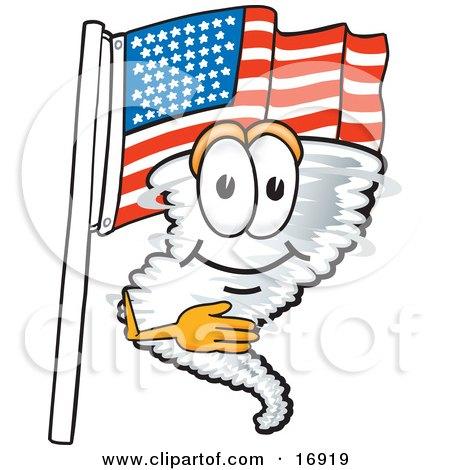 Tornado Mascot Cartoon Character Pledging Allegiance to an American Flag Posters, Art Prints
