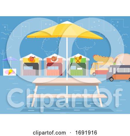 Outdoor Food Park Scene Illustration by BNP Design Studio