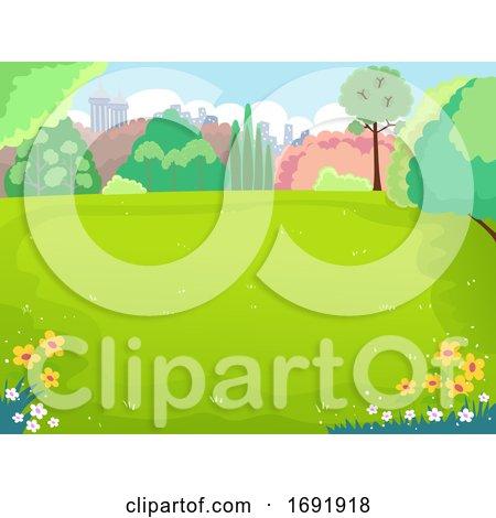 Spring Picnic Field Illustration by BNP Design Studio