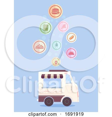 Food Truck Food Icons Drop Illustration by BNP Design Studio