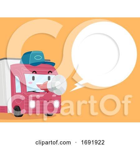 Mascot Food Truck Megaphone Speech Bubble by BNP Design Studio
