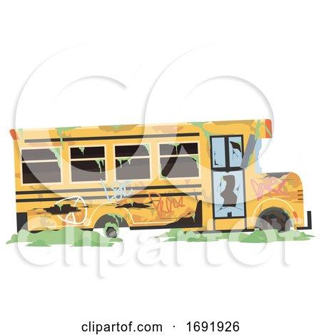 Abandoned School Bus Illustration by BNP Design Studio