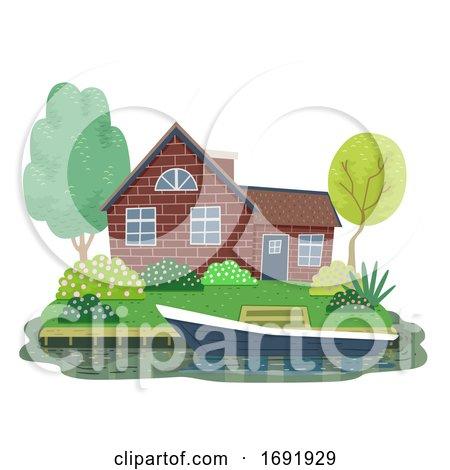 Canal Cottage Netherlands Illustration by BNP Design Studio