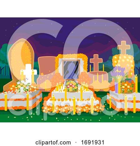 Day of the Dead Cemetery Night Scene Illustration by BNP Design Studio