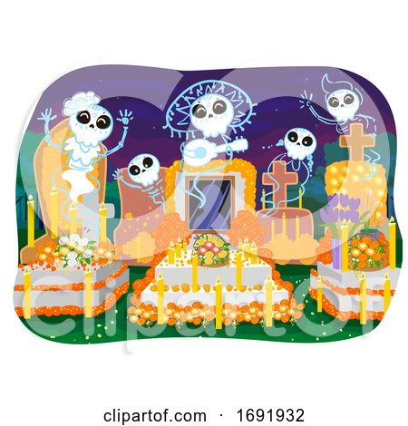 Day of the Dead Cemetery Spirits Illustration by BNP Design Studio