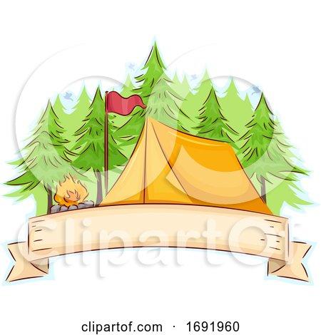 Camp Tent Ribbon Illustration by BNP Design Studio
