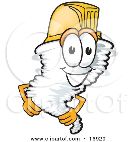 Clipart Picture of a Tornado Mascot Cartoon Character Wearing a Yellow Hardhat Helmet by Toons4Biz