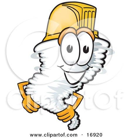 Tornado Mascot Cartoon Character Yellow Hardhat Helmet Posters, Art Prints