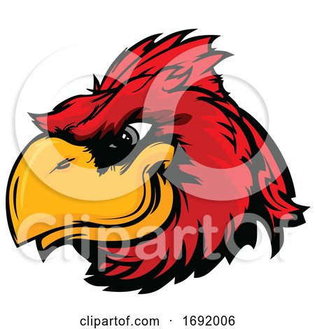 Red Cardinal Bird Mascot Face by Chromaco