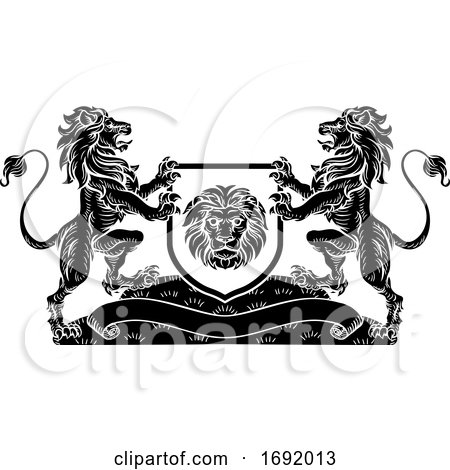 Lion Knight Crest Heraldic Shield Coat of Arms by AtStockIllustration