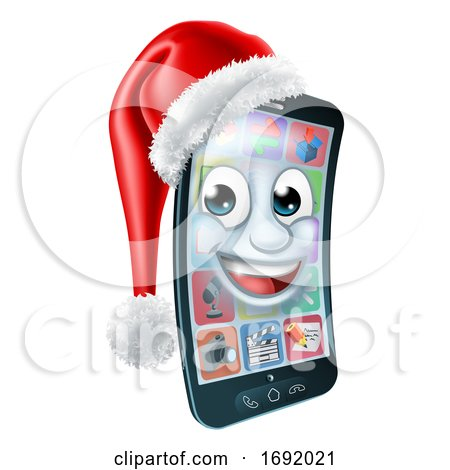 Christmas Cell Mobile Phone Mascot in Santa Hat by AtStockIllustration