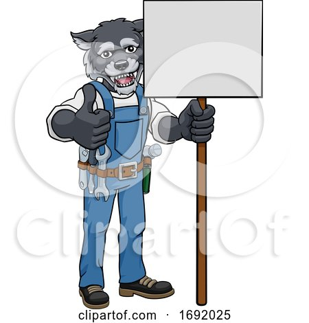 Wolf Cartoon Mascot Handyman Holding Sign Posters, Art Prints