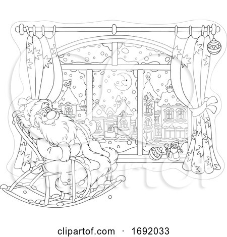 Santa Claus Sitting in a Rocking Chair by a Window by Alex Bannykh