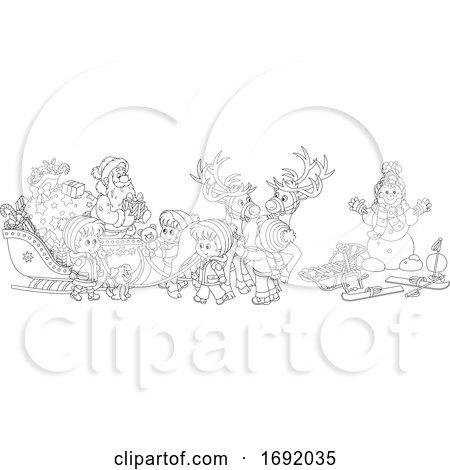 Santa Claus with Children Around His Sleigh by Alex Bannykh