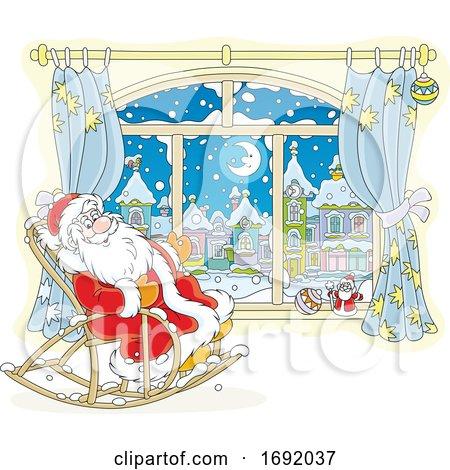 Santa Claus Sitting in a Rocking Chair by a Window by Alex Bannykh